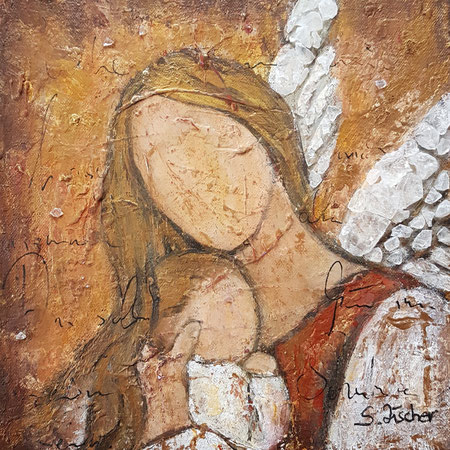 Schutzengel der Kinder 2, Acryl Mischtechnik mit Bergkristalle auf  Leinwand, Format 30x30 cm