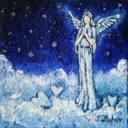 Engel der 'Kranken, Acryl Mischtechnik mit Bergkristalle auf XL Leinwand, Format 30x30 cm -bereits vergeben