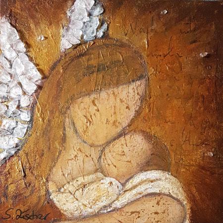 Schutzengel der Kinder 3, Acryl Mischtechnik mit Bergkristalle auf  Leinwand, Format 30x30 cm