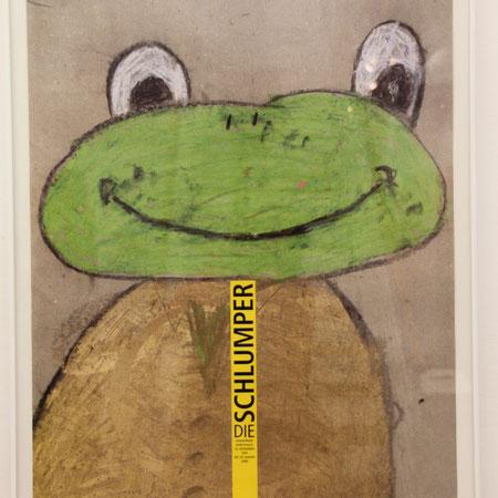 Plakat mit Frosch, Titel poster der Schlumper, eine Künstlergemeinschaft, die dort ihr Atelier hat, Menschen mit Down Syndrom