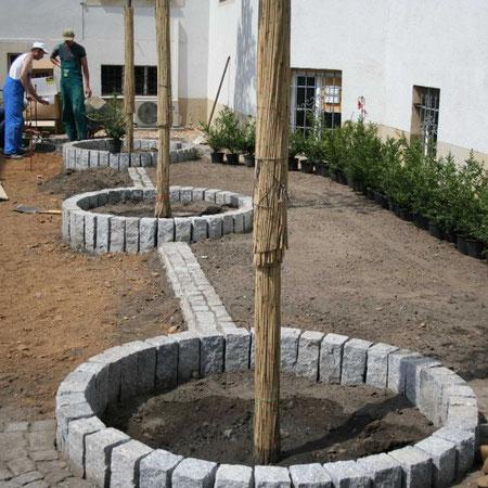 """Durch eine """"Miniallee"""" aus Ebereschen wird der Gast zum unscheinbaren Haupteingang geleitet"""
