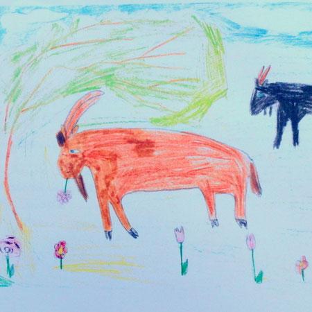 Mathilda a dessiné les chèvres