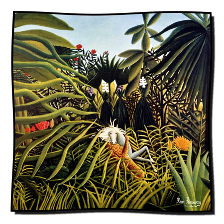 Artikel Nr. 1130 Jaguar und Pferd - Rousseau (100 x 100 cm)