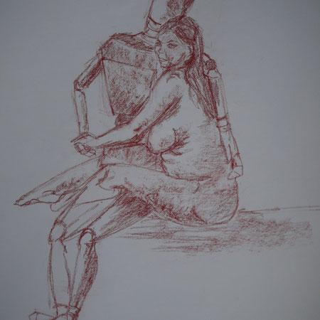 dessin rapide '15mn) modèle vivant dans les bras modèle bois