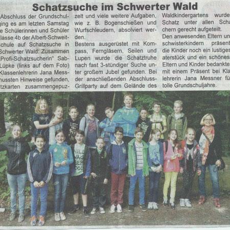 Klassenabschlussfeier mit kleine Schatzsucher im Schwerter Wald