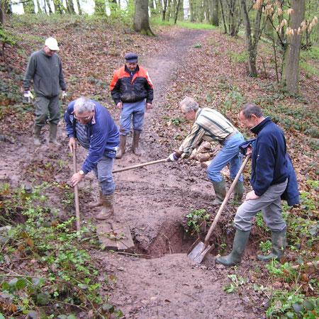 Création passerelle bois de Maligny