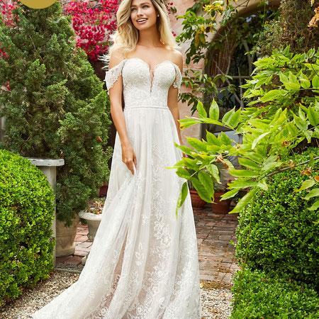 süß rosa viel zarte Spitze Träger Brautkleid myLovely Google Frühling Sommer Schleppe Glitzer Moonlight Bridal hochwertig