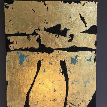 """Gewänder"" Blattgold/Acryl/Canvas 0,4x0,5m/ 95€"
