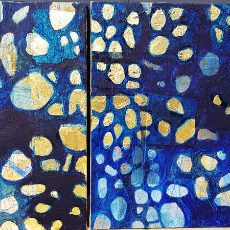 """""""Güldenland"""",Teebtl.,Blattgold,Acryl,0,5x0,7m/0,7x0,7m,500€"""