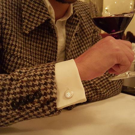 Manschettenknöpfe aus Silber mit Harris Tweed Gehrock