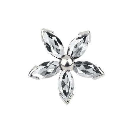 Bild: Topas Manschettenknöpfe Weiße Dahlia - Fünfblättrige Blüte weiß aus 925er Sterlingsilber handgearbeitet