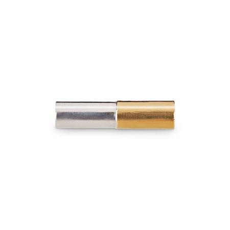 Bild: Handgearbeitete 925er Sterlingsilbermanschettenknopf Leon Stäbchen rund mit aufgelötetem Gold