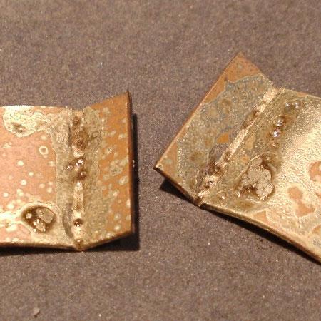Rohteile aus Gold zur Herstellung von Manschettenknöpfen