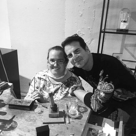 Vincent de Paul und Anke Kleefeld auf der Fashion Week in Berlin
