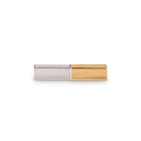 Bild: Handgearbeitete 925er Sterlingsilbermanschettenknopf Andro Stäbchen eckig mit aufgelötetem Gold