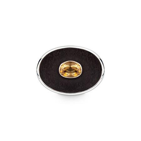 Bild: Ebenholz Manschettenknöpfe oval in 925er Silber mit einem in Gold gefassten Citrin