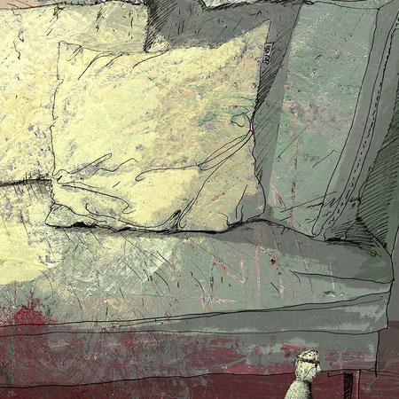 """""""Ich habe dir nie was versprochen IV"""", 20 x 29 cm, Zeichnung/Malerei/digitale Collage, Ausstellungsprojekt von HAMBURG ILLUSTRIERT zum Thema """"Optimale Täuschung"""", Galerie Kulturreich, Hamburg"""