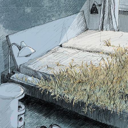 """""""Ich habe dir nie was versprochen I"""", 20 x 29 cm, Zeichnung/Malerei/digitale Collage, Ausstellungsprojekt von HAMBURG ILLUSTRIERT zum Thema """"Optimale Täuschung"""", Galerie Kulturreich, Hamburg"""