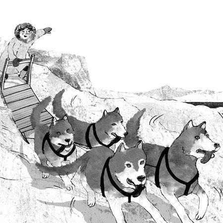 """Illustration für """"Wettlauf im ewigen Eis"""", Abenteuer eines Inuitjungen für Kinder ab 8 Jahren, Thienemann Verlag GmbH"""