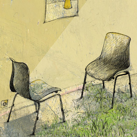 """""""Ich habe dir nie was versprochen III"""", 20 x 29 cm, Zeichnung/Malerei/digitale Collage, Ausstellungsprojekt von HAMBURG ILLUSTRIERT zum Thema """"Optimale Täuschung"""", Galerie Kulturreich, Hamburg"""