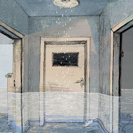 """""""Ich habe dir nie was versprochen Vl"""", 20 x 29 cm, Zeichnung/Malerei/digitale Collage, Ausstellungsprojekt von HAMBURG ILLUSTRIERT zum Thema """"Optimale Täuschung"""", Galerie Kulturreich, Hamburg"""