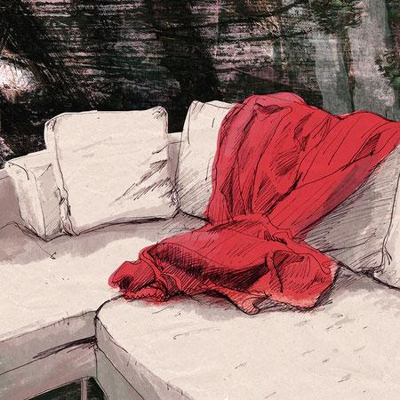"""""""Ich habe dir nie was versprochen II"""", 20 x 29 cm, Zeichnung/Malerei/digitale Collage, Ausstellungsprojekt von HAMBURG ILLUSTRIERT zum Thema """"Optimale Täuschung"""", Galerie Kulturreich, Hamburg"""