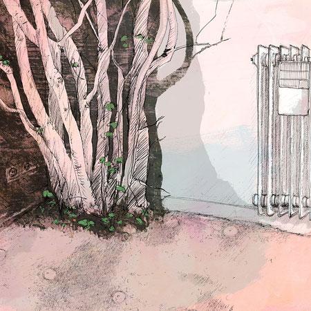 """""""Ich habe dir nie was versprochen V"""", 20 x 29 cm, Zeichnung/Malerei/digitale Collage, Ausstellungsprojekt von HAMBURG ILLUSTRIERT zum Thema """"Optimale Täuschung"""", Galerie Kulturreich, Hamburg"""