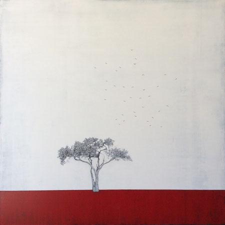 NOUVEAUTE ! Liz Bono - Distinción interior - 100 cm x 100 cm - Techniques mixtes sur toile - Prix sur demande