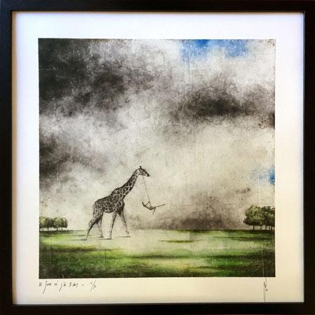"""Antoine Josse - """"Le jour où j'ai 5 ans"""" - Réf. 268 - Numérigraphie - Tirage en série limitée, numéroté 6/30, et signé de la main de l'artiste sur papier beaux arts. Encadrement baguette métal noir et sous-plexi - 270€ ou 200€ sans encadrement."""