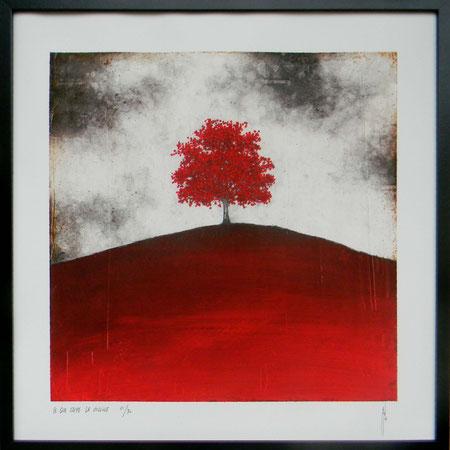 """Antoine Josse - """"Ce que cache la colline"""" - Réf. 267 - Numérigraphie - Tirage en série limitée, numéroté 9/30, et signé de la main de l'artiste sur papier beaux arts. Encadrement baguette métal noir et sous-plexi - 270€ ou 200€ sans encadrement."""