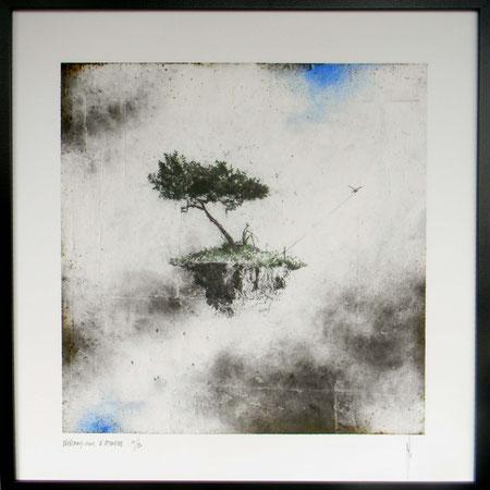 """Antoine Josse - """"Dépêchons-nous d'attendre"""" - Réf. 270 - Numérigraphie - Tirage en série limitée, numéroté 10/20, et signé de la main de l'artiste sur papier beaux arts. Encadrement baguette métal noir et sous-plexi - 270€ ou 200€ sans encadrement."""