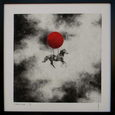 """Antoine Josse - """"Le chasseur de nuages"""" - Réf. 269 - Numérigraphie - Tirage en série limitée, numéroté 3/30, et signé de la main de l'artiste sur papier beaux arts. Encadrement baguette métal noir et sous-plexi - 270€ ou 200€ sans encadrement."""