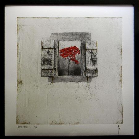 """Antoine Josse - """"Jardin secret"""" - Réf. 266 - Numérigraphie - Tirage en série limitée, numéroté 5/30, et signé de la main de l'artiste sur papier beaux arts. Encadrement baguette métal noir et sous-plexi - 270€ ou 200€ sans encadrement."""