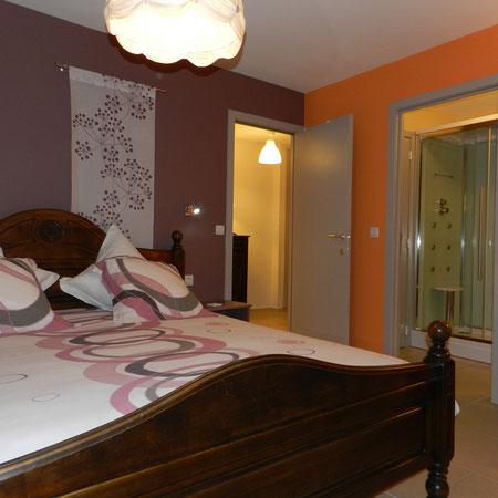 Chambre rez-de-chaussé et sa douche hydromassante.