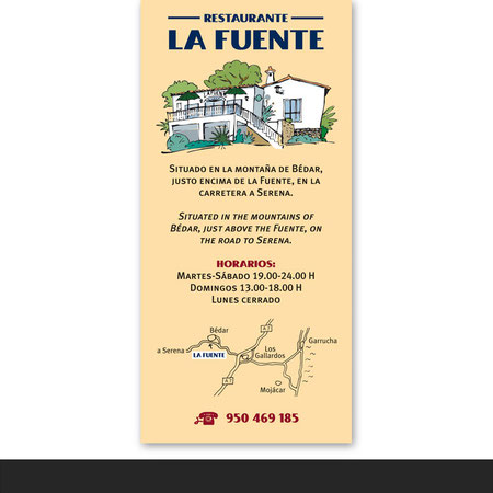 »La Fuente« Flyer und Speisekarte für ein Restaurant