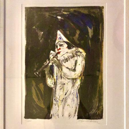 "Bild ""Harlekin mit Flöte""  |  Litho 1/100  |  94x74 cm   |  CHF 150.00 (inkl. Rahmen)"