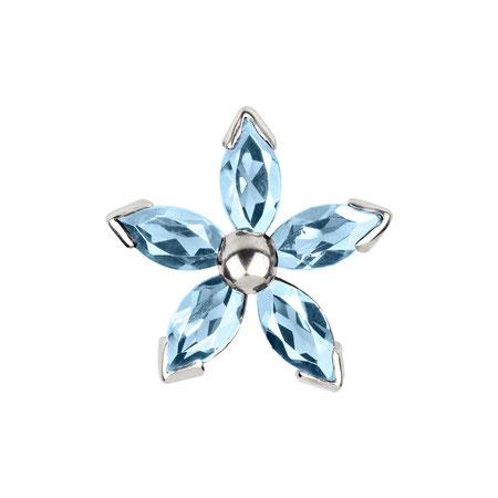 Bild: Topas Manschettenknöpfe Blaue Dahlia - Fünfblättrige Blüte hellblau aus 925er Sterlingsilber handgearbeitet
