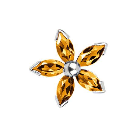 Bild: Citrin Manschettenknöpfe Gelbe Dahlia - Fünfblättrige Blüte gelb aus 925er Sterlingsilber handgearbeitet
