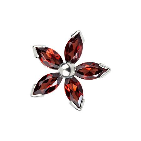 Bild: Granat Manschettenknöpfe Rote Dahlia - Fünfblättrige Blüte dunkelrot aus 925er Sterlingsilber handgearbeitet