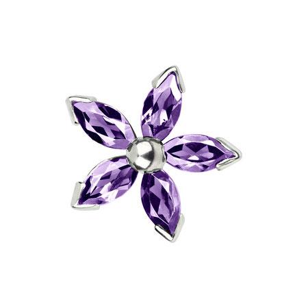 Bild: Amethyst Manschettenknöpfe Purpur Dahlia - Fünfblättrige Blüte purpur aus 925er Sterlingsilber handgearbeitet