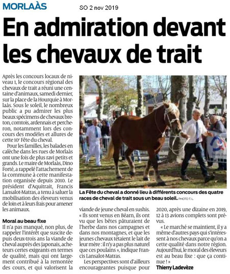 Article Sud Ouest : Chevaux de trait à Morlaas et photo du Président Francis Lansalot Matras (ACCOB)