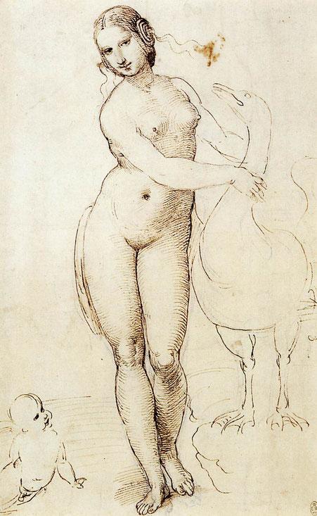 レオナルド・ダ・ヴィンチが描いた『レダと白鳥』をラファエロが模写したドローイング。