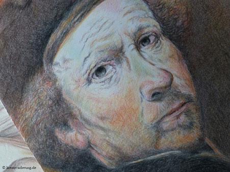 Rembrandt mit Farbstiften gemalt