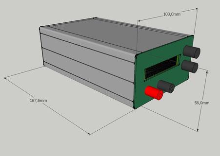 Konzeptentwurf des Mini Labornetzeils in Sketchup mit Bemaßung