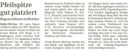 Bogenschiessen-Alle Merkwitzer Nachwuchsschützen auf dem Treppchen - Novemberturnier 13.11.2004 in Halle-Neustadt