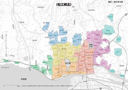 松江市橋北 配布エリアマップ