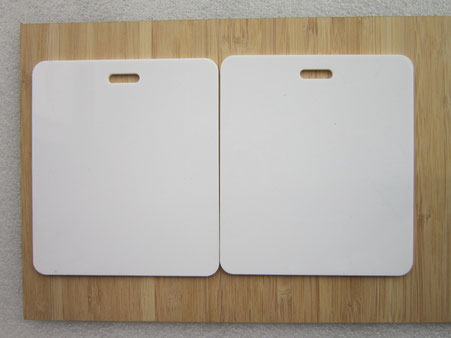 white acrylic, blank tag laser cutting