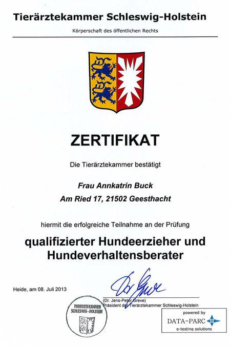 Zertifikat der Tierärztekammer Schleswig-Holstein Annkatrin Buck Hundeschule Geesthund