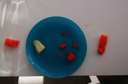 Zur breifreien Beikost zählt auch, dass der Winzling sich das Essen selbst greift und ertastet und so die Konsistenz der verschiedenen Lebensmittel erkennt. Dementsprechend sieht es nach dem Essen auf und unter dem Tisch aus.