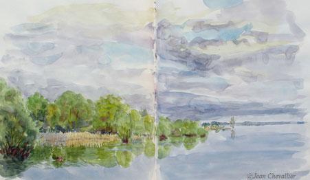 Lac du Der, aquarelle Jean Chevallier